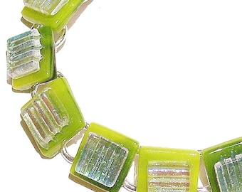 Handcut Dichroic Glass Bracelet - Green Squares 19.5cm OOAK