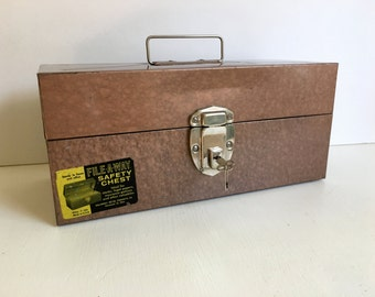 Vintage Metal File Box, Copper Color, Lock & Key, Made by Ballonoff, Paper Storage