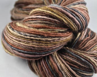 Handspun Yarn Gently Thick and Thin DK Single Polwarth 'Mountain Cutaway 3'