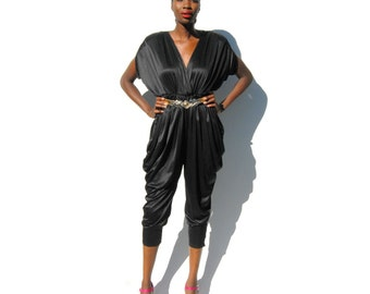 Black Grecian dolman sleeve pantsuit with pockets 1980s 80s VINTAGE