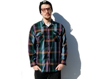 Purple and teal acrylic flannel plaid buttondown MENS 1990s 90s VINTAGE