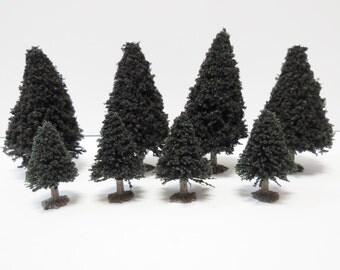 8 miniature Evergreen pine trees  Railroad village landscape diorama terrarium fairy garden forest folk lifelike tree art crafts supplies