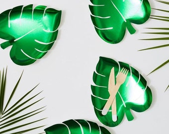 Palm Leaf Monstera Foil Plate 8X9 inches package of 8