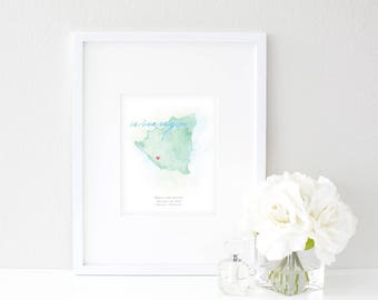 Nicaragua Watercolor Map | Destination Map Print | Personalized Watercolor Map | Honeymoon Map | Anniversary Map | Watercolor Wedding Map