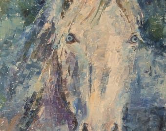 White Horse Painting, Abstract Horse, Cremello, Palomino, Palette knife Painting, Equine Art, Equestrian, Horse with blue eyes, Blue