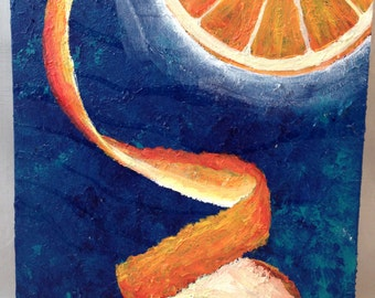 NAVEL ORANGE Original mix media painting on recycled WOOD