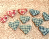 Country Hearts, Bowl Filler, Little Plaid Hearts For Crafting, Set of 10