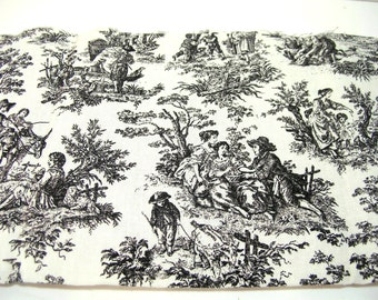 Waverly Rustic Life Black and White Toile Fabric, 2 Yards