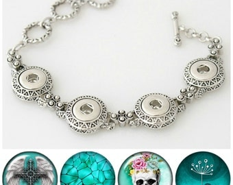 Mini Snap Bracelet with 4 mini snap charms including Sugar Skull snap, Angel wings. Mini snaps are 12.8 mm & fit Petite Ginger Snaps Jewelry