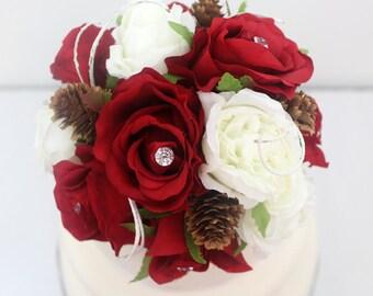 Winter Inspired Wedding Cake Topper - Red, White Rose, Silk Flower Cake Topper, Wedding Cake Flowers, Winter Wedding Cake Topper
