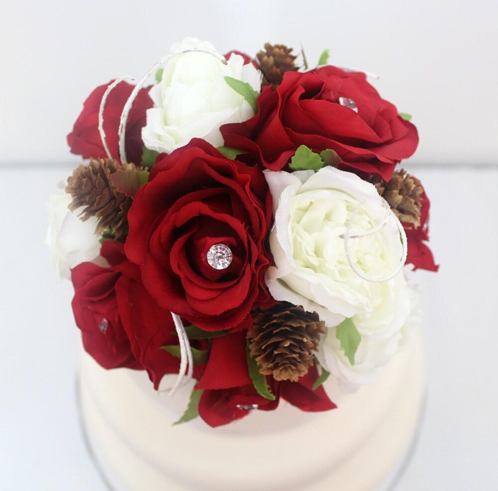 Winter inspired wedding cake topper red white rose silk flower winter inspired wedding cake topper red white rose silk flower cake topper mightylinksfo