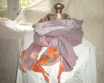 Nuno Felted Scarf Alpaca and Cotton Gauze soft peach and orange on tied dyed purple