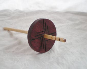 Spiral Hook Drop Spindle Purpleheart and Birch carved wood high whorl 28 g