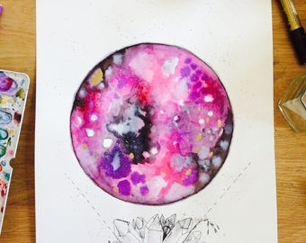 """Strawberry moon - Watercolor moon, cosmic art, Watercolor painting, crystals, mystic, sacred space, meditation, whimsical art, 11x16"""", pink"""