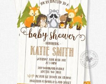 Woodland Baby Shower Invitation, Baby Shower Invitation, Forest Friends Shower Invitation, Baby Boy Invitation