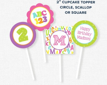ABC123 Cupcake Toppers, Alphabet Party Decorations, Alphabet Party Circles, Printable Birthday Cupcake Toppers