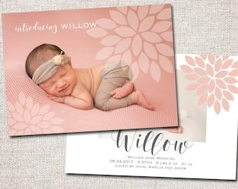 Birth announcement, girl announcement, modern baby announcement, baby announcement, PRINTABLE (Floral)