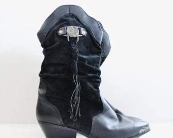 50% half off sale // Vintage 80s South West Cowboy Boots // black leather // women 12M // cowgirl, Coasters