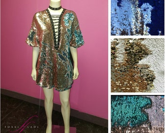 Reversible sequin shirt/dress with choker