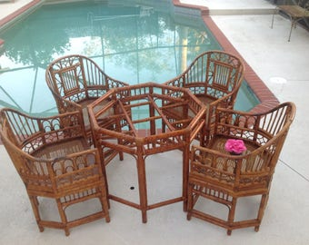 BAMBOO BRIGHTON STYLE Chairs / Set of 4 Chinese Chippendale Rattan Chairs Cane Seats Chinoiserie Pavillion style Chairs at Retro Daisy Girl