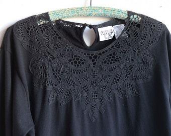 Black Lace Neckline Longsleeve Shirt