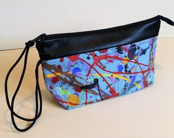 Paintbag, leather trimmed wristlet
