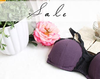Organic Cotton bra with Padding in Dark Purple with Black Lace SALE Medium