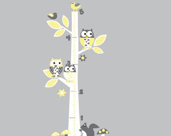 Yellow Vinyl Wall Decal  Vinyl Wall Art - Growth Chart - Owls - Birds - Flowers