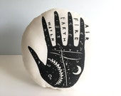 Palmistry Plush Pillow. 12 Inches Round. Hand Woodblock Printed. Ready To Ship.