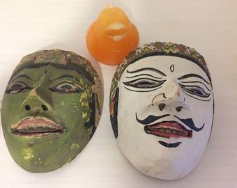 ASIAN MASKS WOODCARVED, Vintage Masks, Man Mask, Woman Mask, Bali, Thailand, Asian Decor at Modern Logic