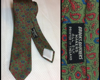 Vintage 1960's Brooks Brothers Makers All Silk Printed in England Necktie Skinny Tie Olive Green tiny paisley red blue patterned Preppy