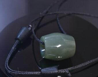 Big Sur Light Olive Green Nephrite Jade Bead.