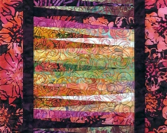Quilted Batik Table runner red purple gold greens