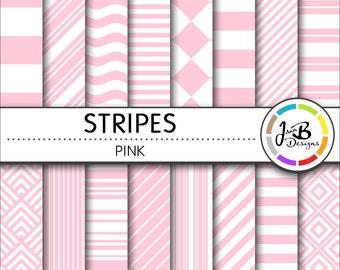 Stripes Digital Paper, Light Pink, Pink, White, Stripes, Nautical, Digital Paper, Digital Download, Scrapbook Paper, Digital Paper Pack