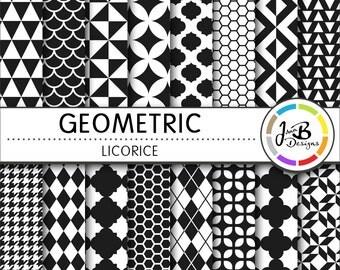 Geometic Digital Paper, Licorice, Black, Black and White, Tribal, Digital Paper, Digital Download, Scrapbook Paper, Digital Paper Pack