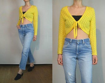 80s Sunshine Zigzag CROCHET Cropped Knit Tie Top