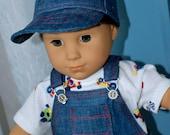 18 Inch Boy Doll Three Piece Outfit Denim Bib Overalls Short Sleeve Tshirt and Denim Ballcap by SEWSWEETDAISY