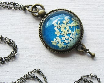 Real Pressed Flower Jewelry - Blue and White Queen Annes Lace Vintage Inspired Necklace