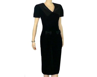M/10 Vintage 1980's All Occasion Black Velvet Cocktail Dress Medium