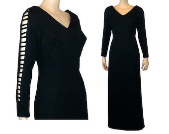 M Peek-A-Boo, Black Evening Dress, Leg Slits Long Sleeves, 60's Vintage Maxi Dress, Medium