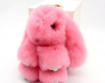Fur Rabbit Pompom Car Keychain Bunny Purse Pendant Bag Accessory Backpack Charm  Rabbit Fur Key Ring