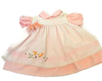 Vintage Baby Dress (c. 1950's) Pale Pink Dress with White Pinafore  /  Infant Girl  /  Baby Shower Gift  /  Size 12 Months