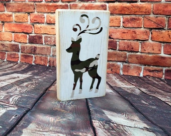 Camo Reindeer small Distressed Sign holiday decor