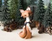 R E S E R V E D for Courtney - Red Fox Making a Daisy Chain - Fox Figurine by Bonjour Poupette