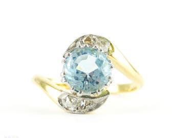 Vintage Blue Zircon & Diamond Ring, Swirl Design Old Mine Cut Diamond Ring with Zircon. Circa 1930s, 18ct.