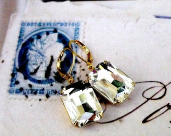 On Sale Emerald Cut Crystal, Hollywood Glam Ice Crystal Jewel in Natural Brass Earrings