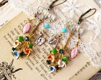 Unlocked Secrets, Vintage 1940s Austrian Enamel Flowers ,Pink Rhinestone,Lock & Key Vintage Assemblage Earrings by Hollywood Hillbil