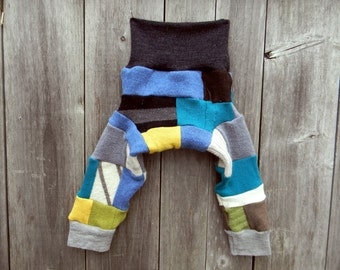 SMALL Upcycled  Merino Wool Longies Soaker Cover Diaper Cover With Added Doubler Boy's Patchwork Scrappy  SMALL 3-6M