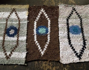 MADE TO ORDER Blue 3rd Eye Tapestry Crochet Rug