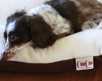 BUNBED, Dachshund Dog Bed, Burrow Bed, White Ivory Plush and Brown Fleece Dog Bed, Small Dog Bed, Dachshund Bed